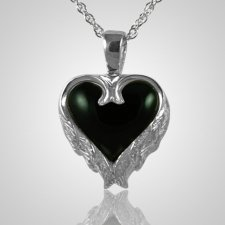 Angel Wings Onyx Heart Keepsake Pendant