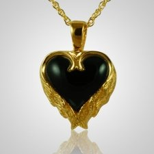 Angel Wings Onyx Heart Keepsake Pendant II