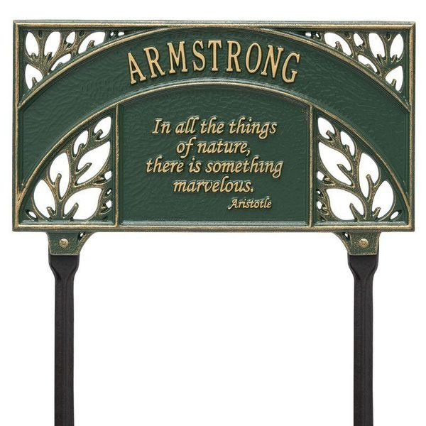 Aristotle Garden Green Dedication Plaque