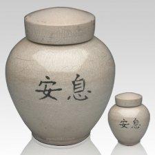 Asian White Raku Cremation Urns