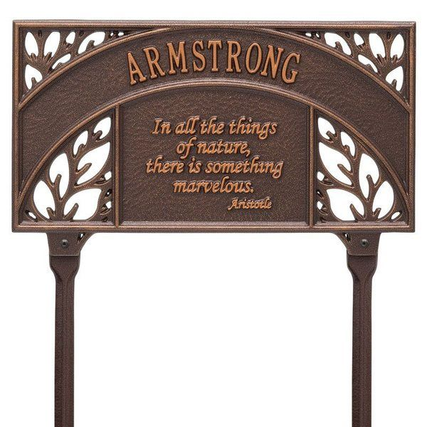 Aristotle Garden Copper Dedication Plaque