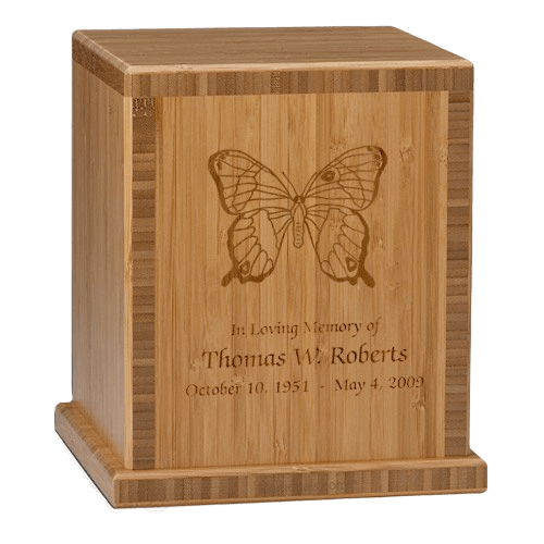 Butterfly Bamboo Caramel Cremation Urn
