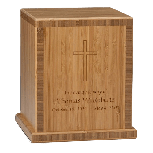 Cross Bamboo Caramel Cremation Urn