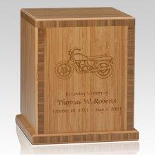 Motorcyle Bamboo Caramel Cremation Urn