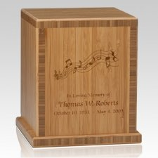 Music Notes Bamboo Caramel Cremation Urn
