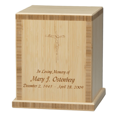 Crucifix Bamboo Natural Cremation Urn