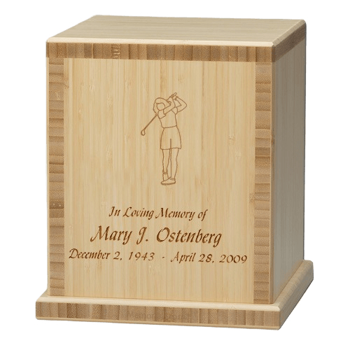 Lady Golfer Bamboo Natural Cremation Urn