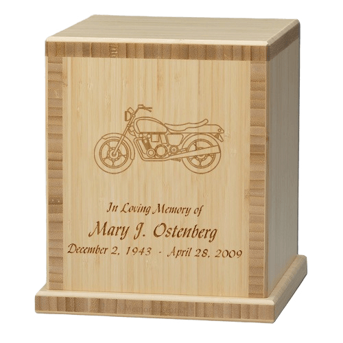 Motorcycle Bamboo Natural Cremation Urn