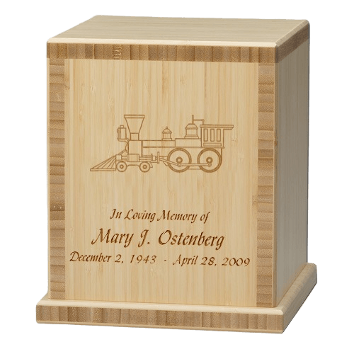 Train Bamboo Natural Cremation Urn
