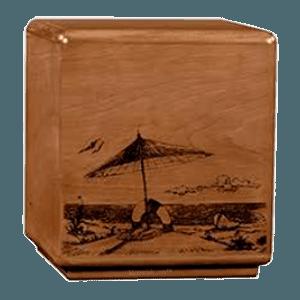Solemn Beach Wood Cremation Urn
