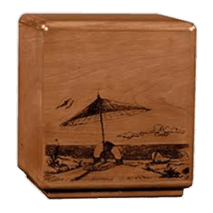 Solemn Beach Wood Cremation Urn