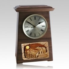 Bear Astoria Clock Walnut Cremation Urn