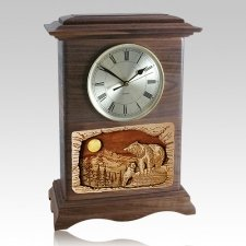 Bear Clock Walnut Cremation Urn
