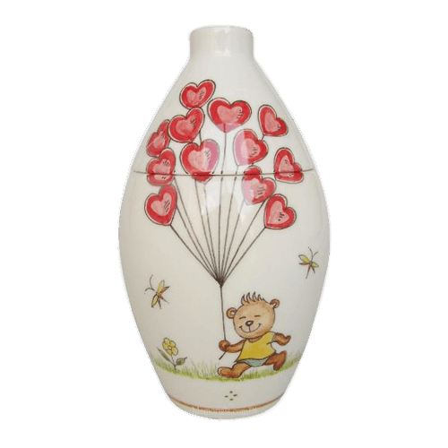 Bear With Balloons Ceramic Cremation Urn