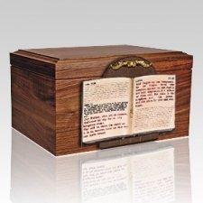 Bible Figurine Wood Cremation Urn