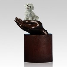 Bichon Fries Hands Dog Cremation Urn