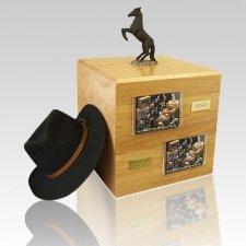Black Rearing Full Size Horse Urns