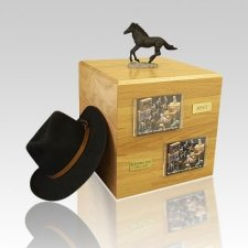 Black Running Full Size Horse Urns