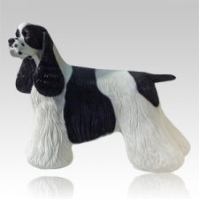 Black & White Cocker Dog Cremation Urn