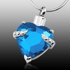Blue Crystal Heart Cremation Jewelry