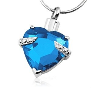 Blue Crystal Heart Necklace For Ashes