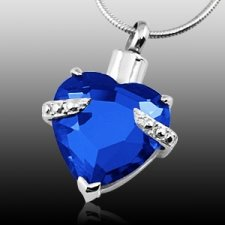 Blue Heart Cremation Jewelry