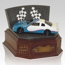 Blue Race Car Cremation Urn