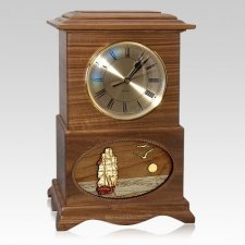 Boat Clock Walnut Cremation Urn