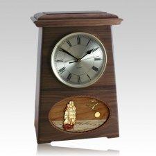 Boat Astoria Clock Walnut Cremation Urn