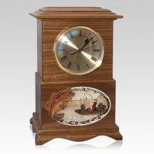 Boatfishing Clock Walnut Cremation Urn
