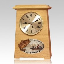 Boat Fishing Astoria Clock Oak Cremation Urn