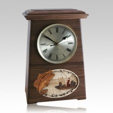 Boat Fishing Astoria Clock Walnut Cremation Urn