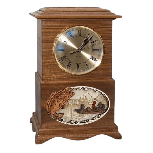 Boatfishing Clock Walnut Cremation Urn