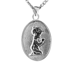 Boy Kneeling Oval Keepsake Pendant
