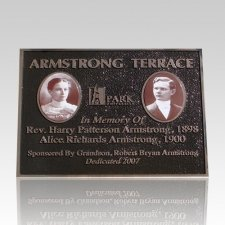 Bronze Plaque with 2 Ceramic Pictures