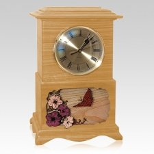 Butterfly Clock Oak Cremation Urn