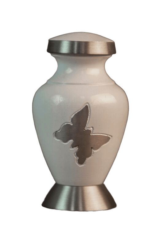 Butterfly Flutter White Keepsake Cremation Urn