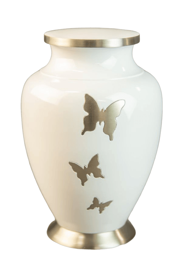 Butterfly Flutter White Cremation Urn