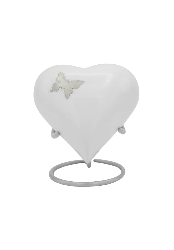 Butterfly Flutter White Heart Keepsake Urn