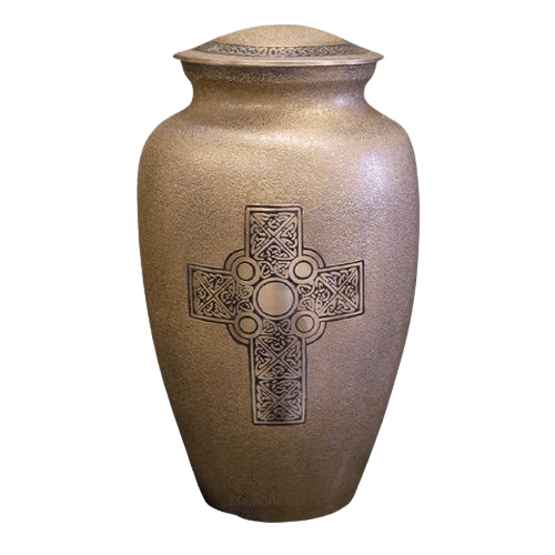 Celtic Cross Brass Cremation Urn