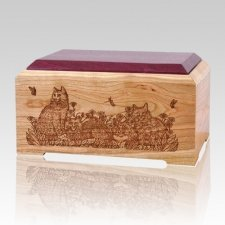Cat Lovers Wood Cremation Urn