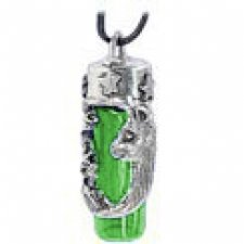 Cat & Stars Green Glass Ash Necklace