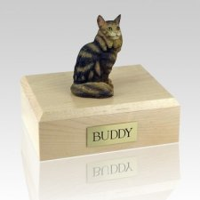 Maine Coon Brown Tabby Cat Cremation Urns