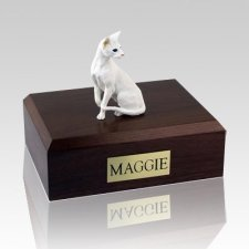 Oriental White Cat Cremation Urns