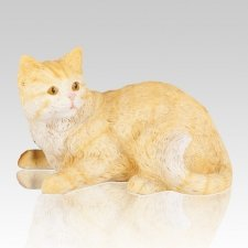 Striped Orange Cat Cremation Urn