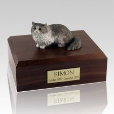 Angora Gray Cat Cremation Urns