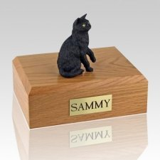 Black Sitting Cat Cremation Urns