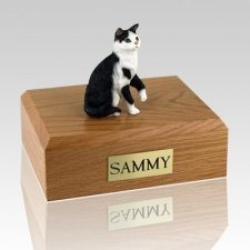 Tabby Black White Sitting Cat Cremation Urns
