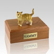 Tabby Red Standing Cat Cremation Urns