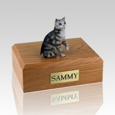 Tabby Silver Sitting Cat Cremation Urns